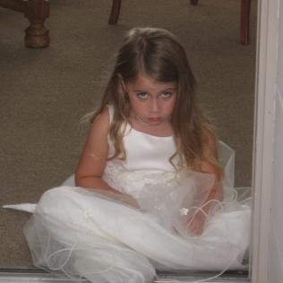 Unhappy flower child.