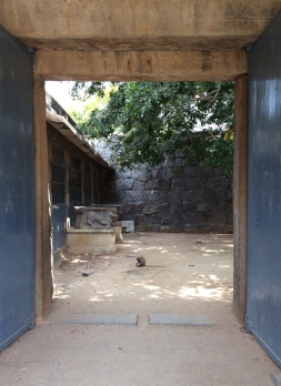 The welcoming committee at the entrance into Rajagiri Fort in India.