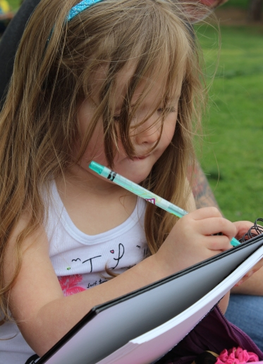 DRAWING. Adyson concentrates on her masterpiece. Yorba Linda, CA.