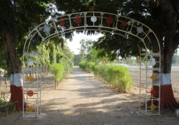 A welcoming entrance to the temple and ashram in Kayovarohan, India.