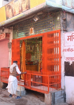 Tiny gated temples can be found all over India. This one was on a busy street in Jaipur.